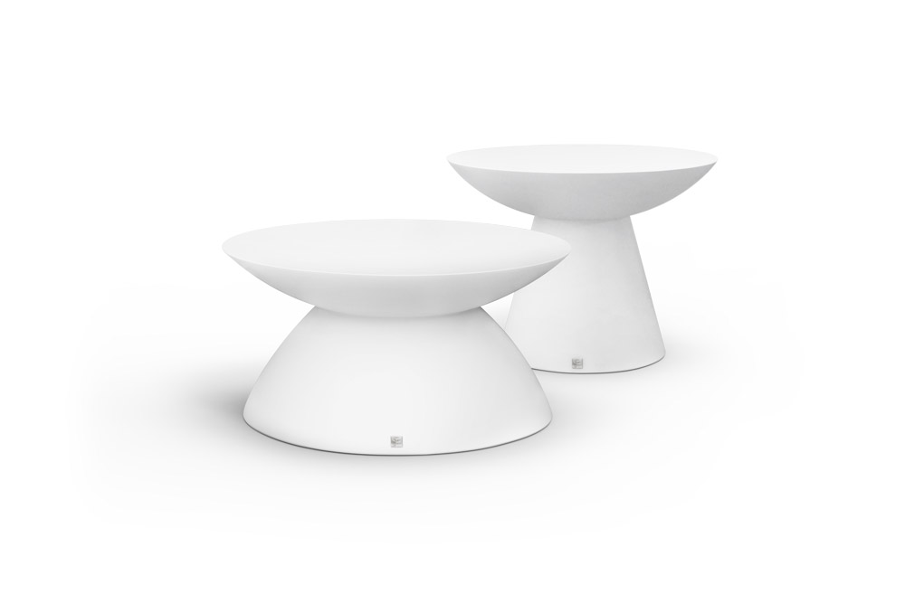 Oceano Set of Coffee Tables in White Matte