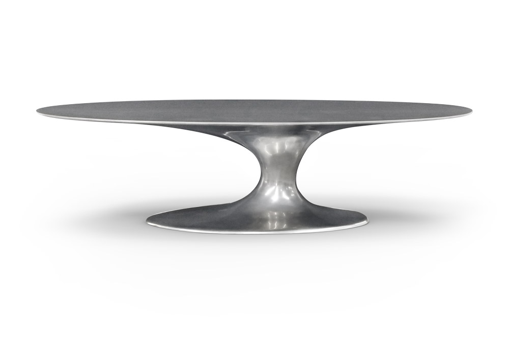 Jade Oval Dining Table Finished in Chrome Color