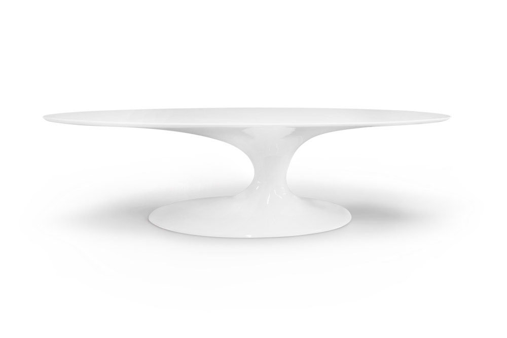 Jade Oval Dining Table Lacquered in White