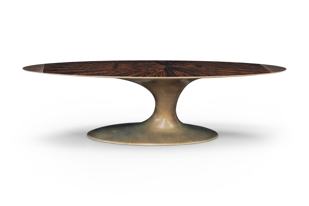 Jade Oval Dining Table With Ziricote Top
