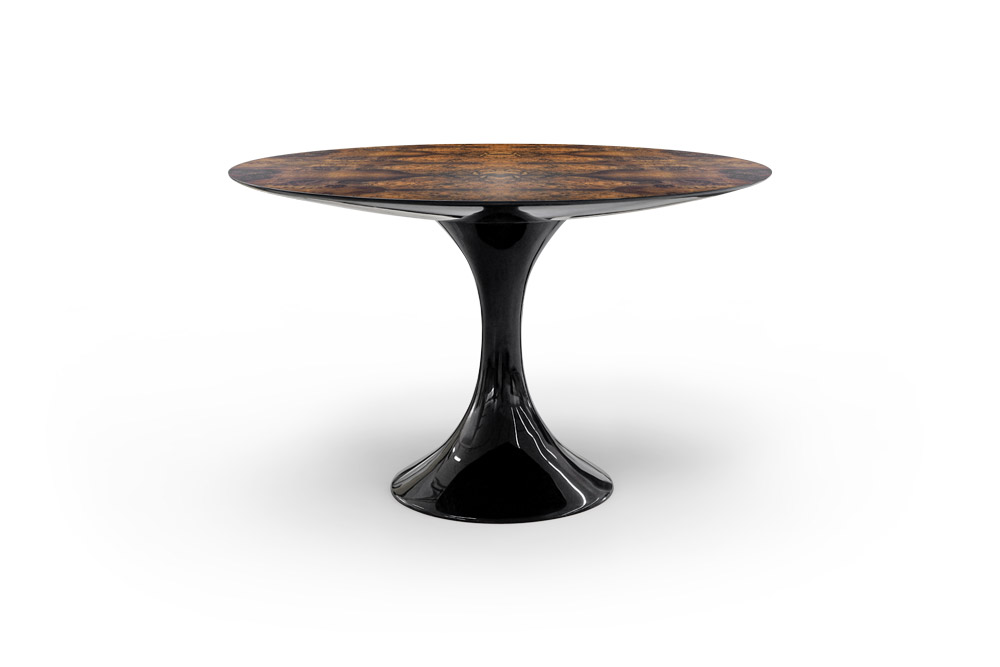 Jade Round Dining Table in Walnut Root